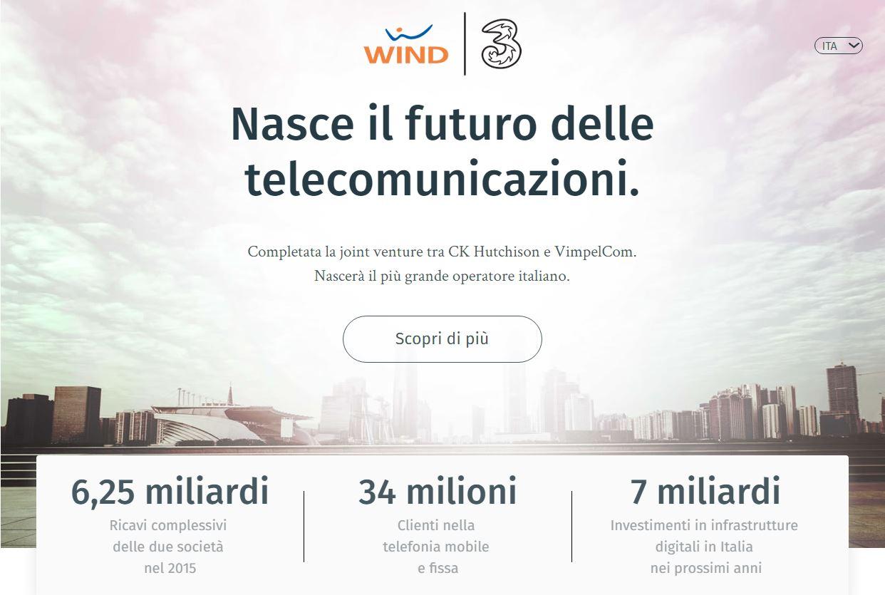 Partita la fusione Wind e 3 Italia, pubblicato anche il sito ufficiale