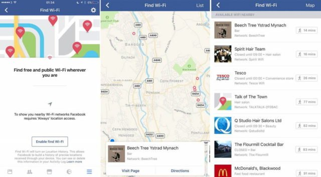 Facebook ci suggerirà gli hotspot WiFi più vicini a noi
