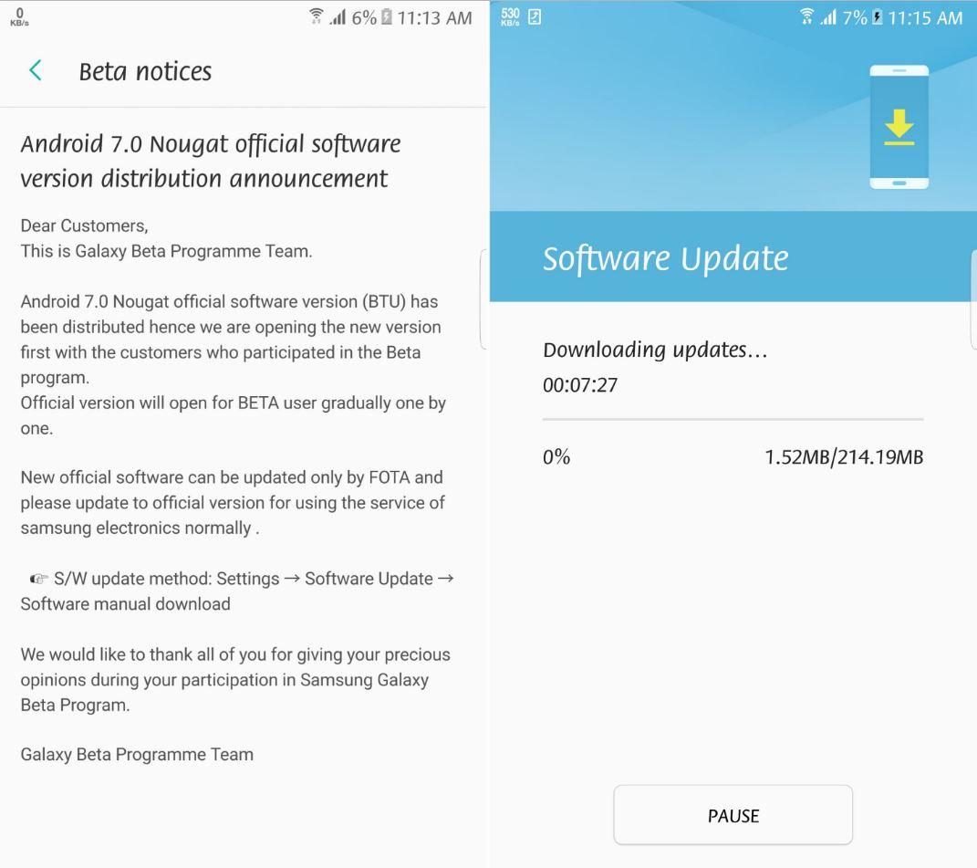 Samsung Galaxy S7 penalizzato senza aggiornamento Android Nougat