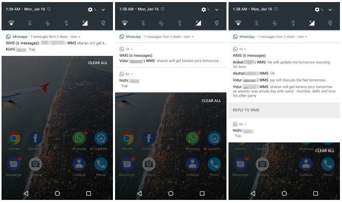 Whatsapp Beta, in test un sistema notifiche più funzionale su Android N