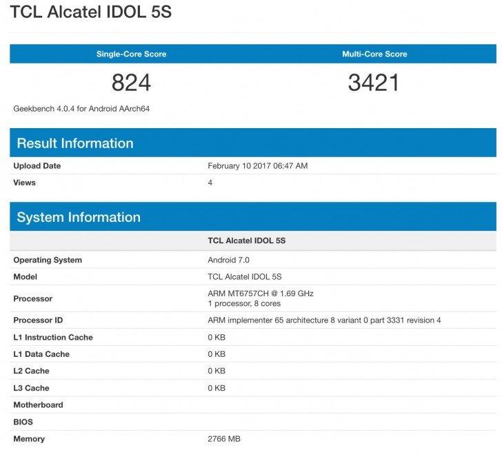 Alcatel Idol 5S in uscita al MWC 2017